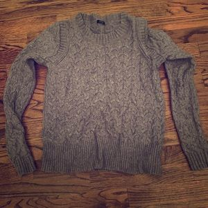 Gray J Crew cable knit sweater